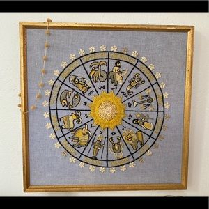 1970 Yarn Needlepoint Astrology Wall Art